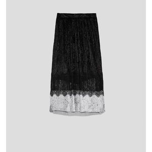 Pleated combined velvety lace midi skirt